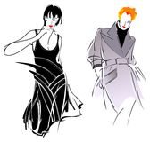 Black Gray Fashion Girl. Two Black Gray Fashion Girl. Drawing Stock Photos