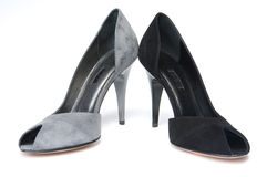 Black and gray female shoes Royalty Free Stock Photography