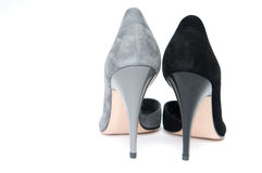 Black and gray female velour shoes Stock Photos