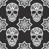 Black and Gray Flower Skull Pattern Royalty Free Stock Images