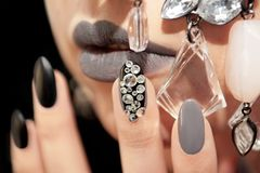 Black gray glam matte makeup and manicure Royalty Free Stock Photo