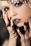 Black gray glam matte makeup and manicure Royalty Free Stock Images