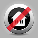 Black gray metallic ban button, home with windows royalty free illustration