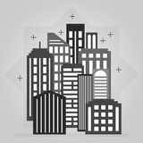 Black and gray night downtown city skyline icon design element. On gray gradient background royalty free illustration