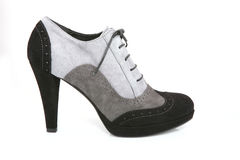 Black and gray stiletto shoe Stock Images