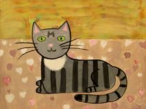 Black gray and white cat slies on the surface with hearts gouache Royalty Free Stock Photos
