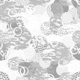 Black, gray and white grunge abstract seamless pattern with circles, rings, different brush strokes and shapes. Royalty Free Stock Photo