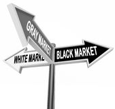 Black Gray White Market Road Street Signs Three Way Economy. Black, Gray and White Market words on three arrow road or street signs to show the different legal Royalty Free Stock Images