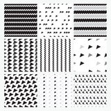 Black, gray, white simple  seamless pattern set, Royalty Free Stock Photography