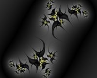 Black gray yellow fractal, flowery elegant sparkling contrasts lights, texture, abstract background. Black gray yellow contrasts flowery sparkling diamond shapes royalty free illustration