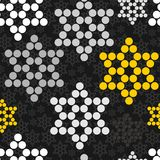 Black gray yellow white dotted stars Royalty Free Stock Image
