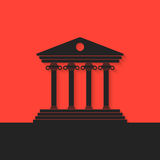 Black greek colonnade on red background Royalty Free Stock Photo