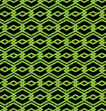 Black and green abstract seamless pattern with interweave lines. Stock Photos