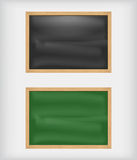 Black and green blank chalkboards Stock Images