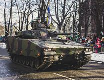 Black and Green Camouflage Military Tank Parade Stock Photography