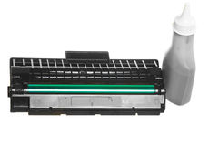 Black green cartridge toner bottle isolated. Technology equipment. Stock Photography