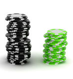Black and green Casino chip stacks Royalty Free Stock Image