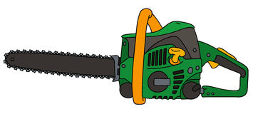 Black and green chainsaw. Hand drawing of a black and green chainsaw Stock Images