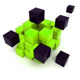 Black and green cubic background. 3D rendering of a black and green cubic background Stock Photography