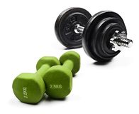 Black and green dumbbells on a white background Royalty Free Stock Photography