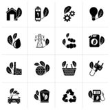 Black Green, Ecology and environment icons. Vector icon set royalty free illustration