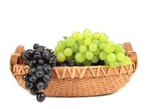 Black and green grapes in basket. Royalty Free Stock Photos