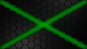 Black and green hexagons modern background 3d render. Illustration stock illustration