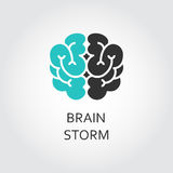 Black and green icon of brain, brainstorm concept. Vector contour graphics for button, websites, mobile apps and other design needs Stock Photos
