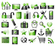 Black and green icons. Miscellaneous black and green icons Stock Photography