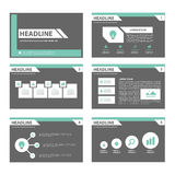 Black and green multipurpose Brochure flyer leaflet website template flat design Royalty Free Stock Photos