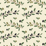 Black and green olive branch seamless pattern background illustration Stock Photos