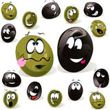 Black and green olive cartoon Royalty Free Stock Photography