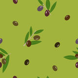 Black and green olive and leaves green seamless vector floral pattern. Stock Photos