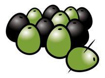 Black green olives Royalty Free Stock Photos