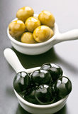 Black and green olives Stock Photos
