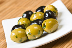Black and green olives Royalty Free Stock Photography