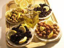 Black and green olives Stock Images