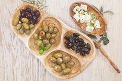 Black and green olives with feta cheese Royalty Free Stock Image