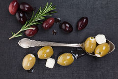 Luxurious dark culinary olive background. Royalty Free Stock Images