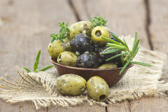 Black and green olives Royalty Free Stock Images