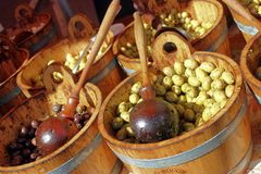 Black and green olives in a market Stock Image