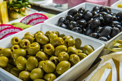 Black and green olives. Royalty Free Stock Photo