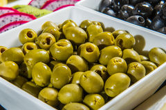 Black and green olives. Royalty Free Stock Images