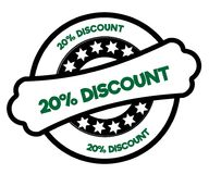 Black and green 20 PERCENT DISCOUNT stamp. Illustration graphic concept vector illustration