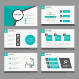 Black green presentation template annual report  brochure flyer  elements icon flat design set for advertising marketing leaflet Royalty Free Stock Image