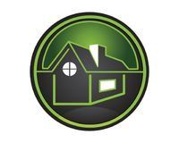 Black and Green Real Estate logo. Illustration art of real estate good for the company logo. This house art is made of windows and chimney on top of the roof vector illustration