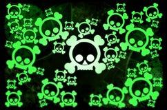 Black green skulls. On dark background royalty free illustration