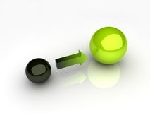 Black and green sphere Stock Images