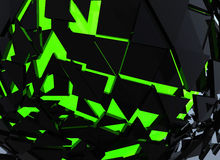 Black and green Sphere Shattered Abstract 3d isolated Stock Image