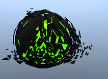 Black and green Sphere Shattered Abstract 3d isolated Stock Images